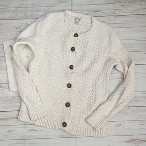 llbean womens sp white cardigan sweater button fro